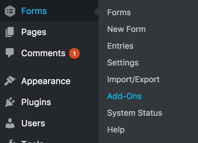 screenshot of how to get to Forms > Add-ons