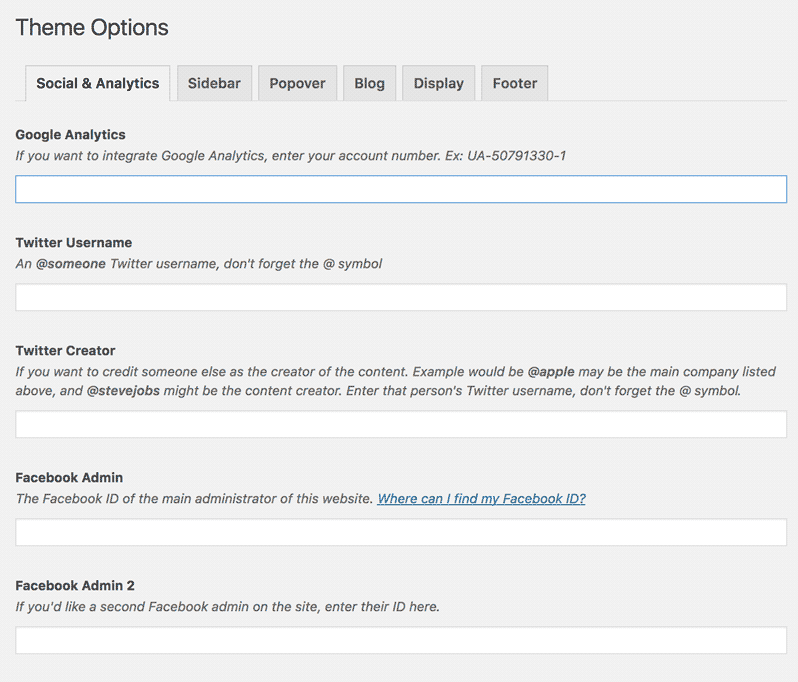 screenshot of the theme options page, social tab