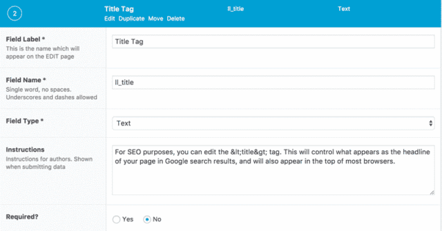 screenshot of title tag field editor in advanced custom fields