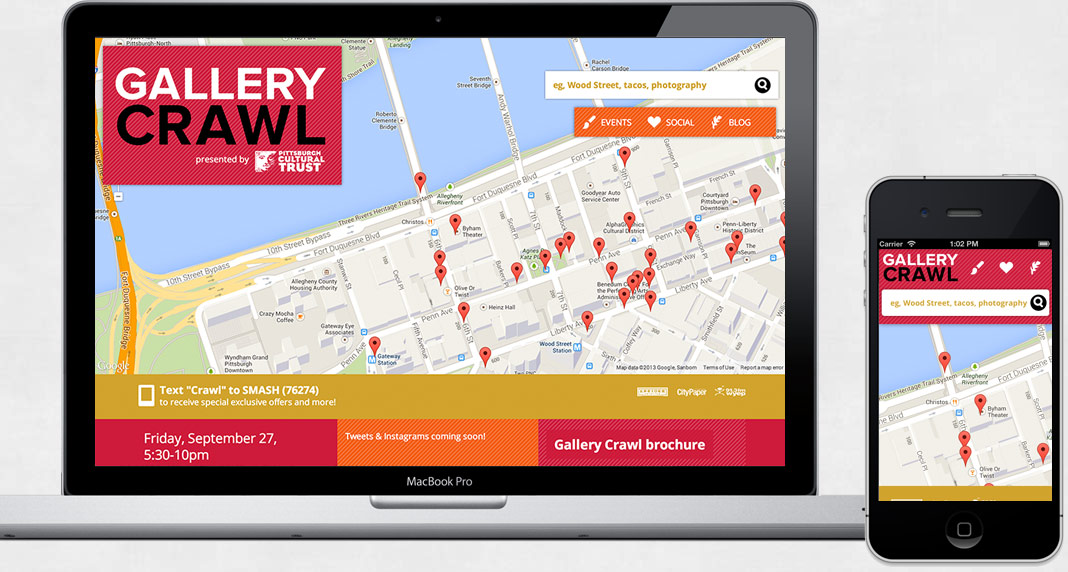 screenshot of the Gallery Crawl site on mobile and desktop.