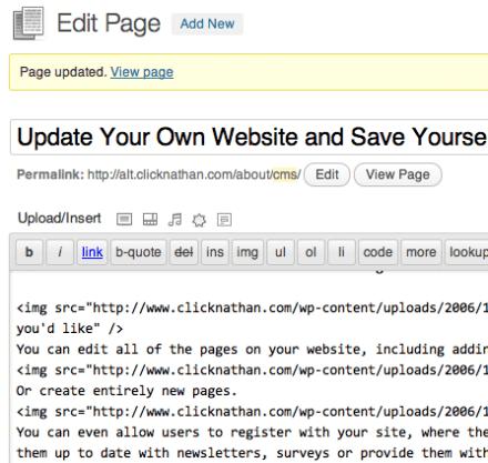 WordPress Page Editor Screen