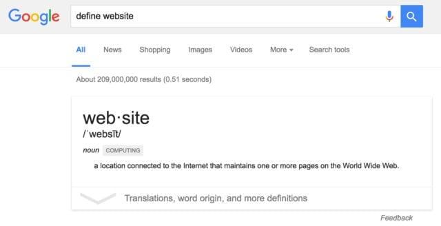 screenshot of a Google search result for define website