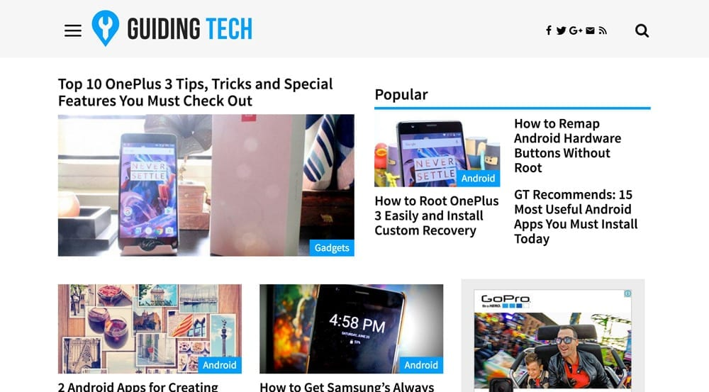 Guiding Tech is a million+ pageviews a month site and was in desperate need of a new look. Sleek and clean, letting the content shine through. GuidingTech.com