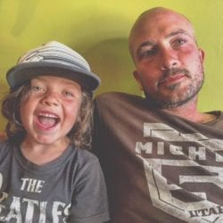 Nathan Swartz and his son Winter.