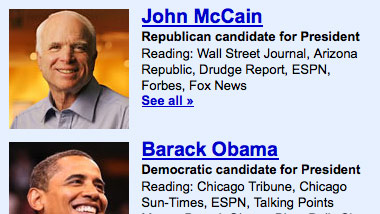 Google Reader claims John McCain does know how to use the Internet.