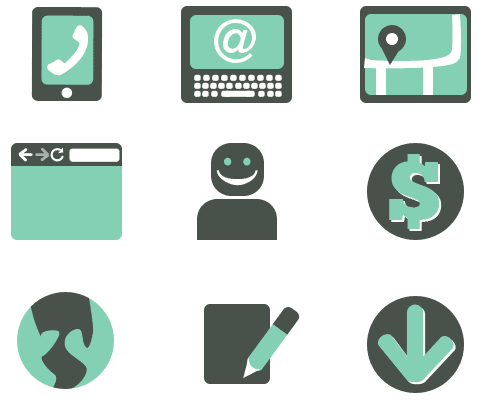 computer icons depicting web imagery such as a browser, smart phone, laptop, map, avatar and more