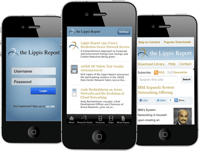 three iphones with screenshots of the Lippis Report app and mobile website