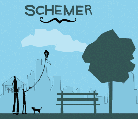 illustration from schemer.com's website, a man and son flying a kite in the park, silhouetted and stylized