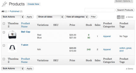 screenshot of the MarketPress Products Listing Table
