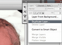 screenshot of a layer being duplicated in Photoshop