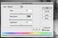 screenshot showing Hue/Saturation panel where Saturation has been turned down to -100