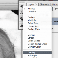 screenshot of changing a layer to Overlay mode in Photoshop
