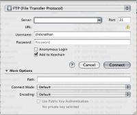 screenshot of Cyberduck's open connection window on Mac