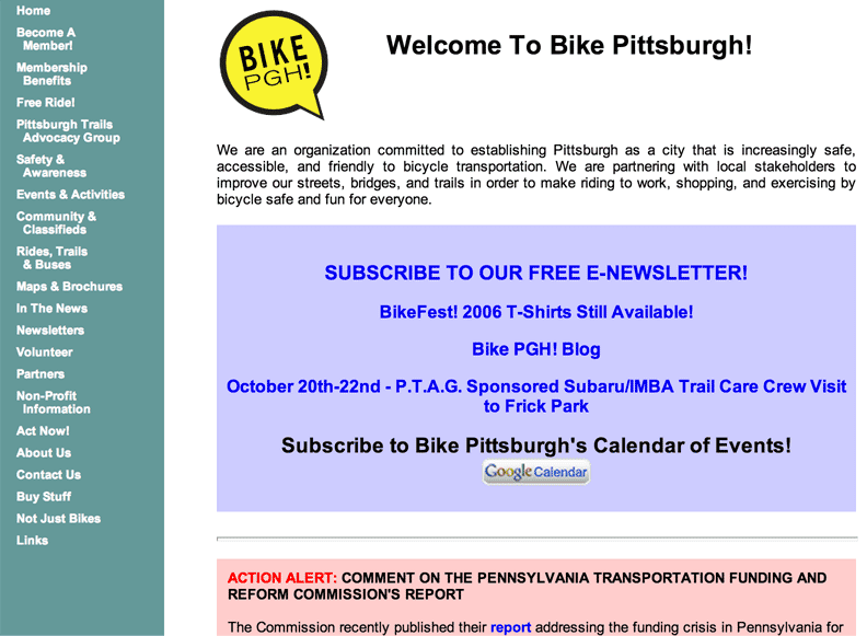 a screenshot of a rather plain jane website for Bike Pittsburgh