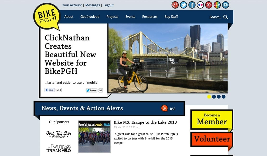 Bike Pittsburgh's latest website iteration, by ClickNathan