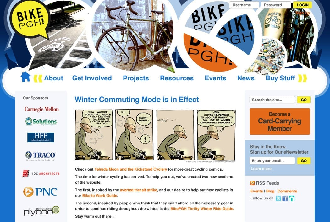a screenshot of bikepgh.org after a redesign in 2009