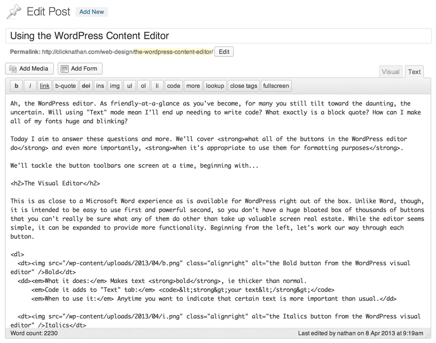 a screenshot of a text editor in WordPress