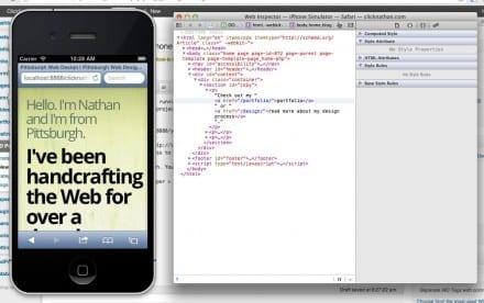 screenshot showing the iPhone Simulator open beside the Safari Inspector window