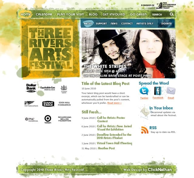 a screenshot of the Three Rivers Arts Festival website from 2010