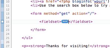 Screenshot of collapsed code in Coda 2