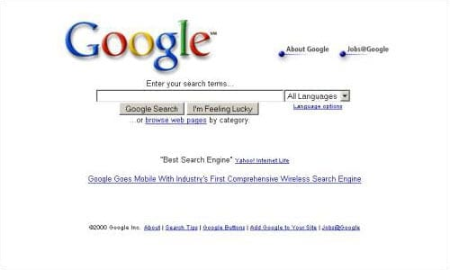 a screenshot of an antiquated search engine webpage, aka Google in 2001