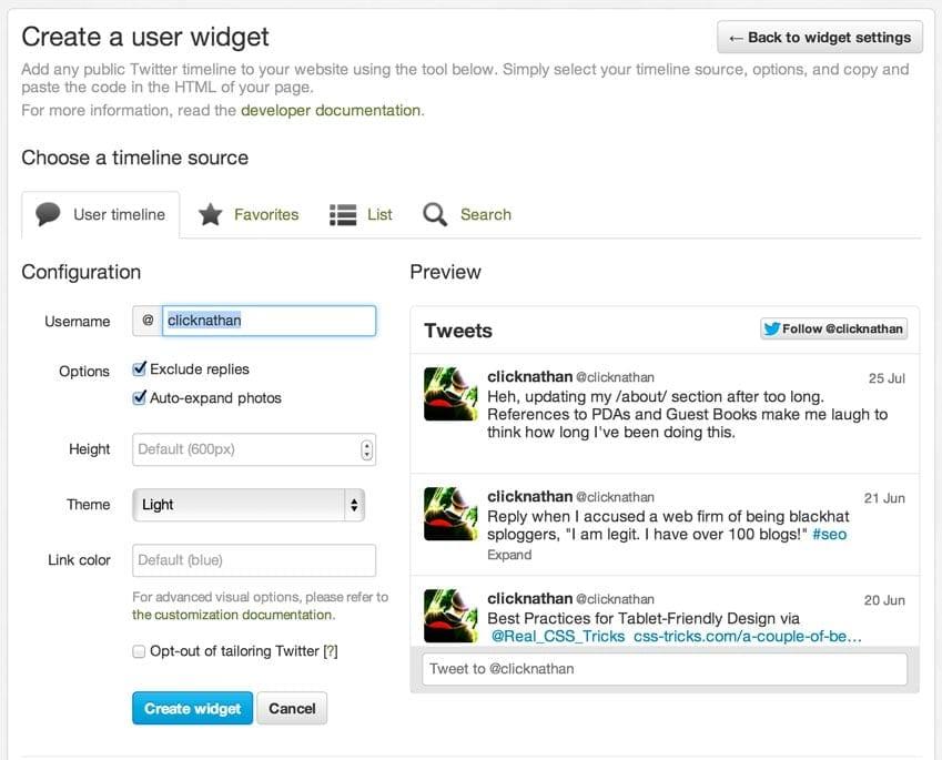 screenshot of twitter.com widget creation page