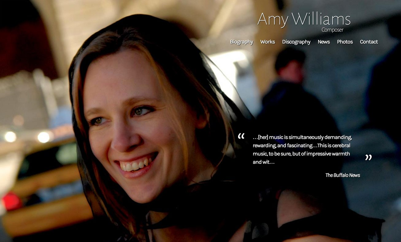 screenshot of composer amy williams, featuring amy herself big and bold on the front