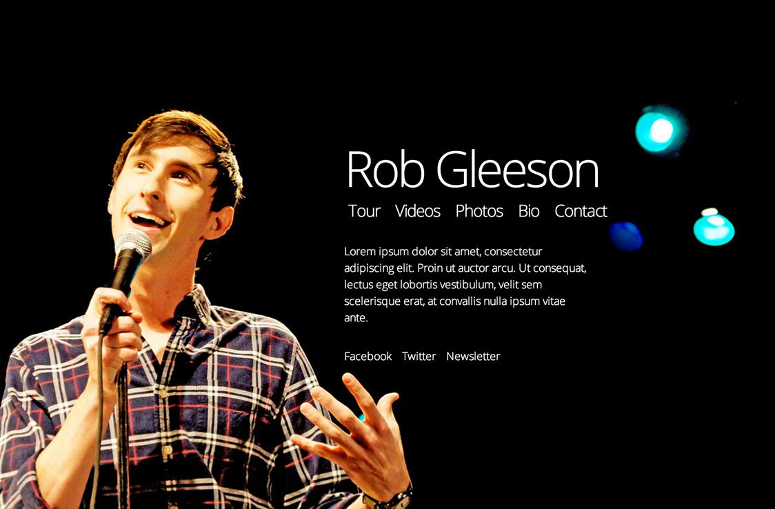 screenshot of Rob Gleeson's homepage, showing the actor, stage lights and some lorem ipsum text