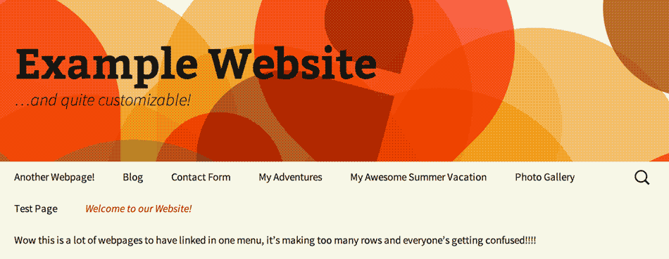 screenshot of the TwentyThirteen WordPress theme with every page listed out in the navigation, causing it to stretch over three lines