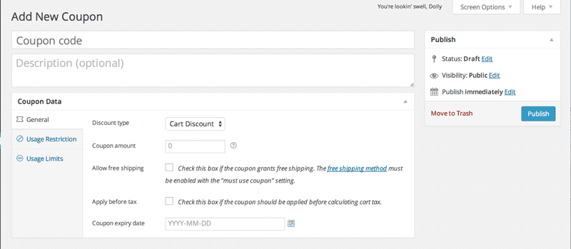 screenshot of Woocommerce coupons page