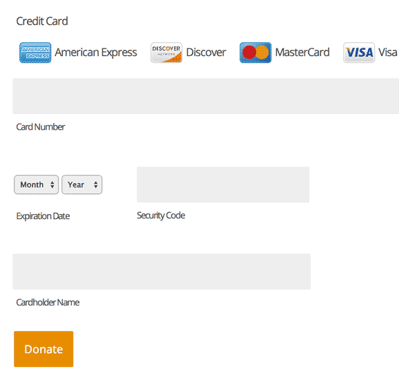 screenshot of an elegant credit card form; simple, easy to use
