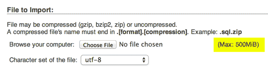 screenshot of phpmyadmin from WPEngine showing a 500mib max upload for SQL files