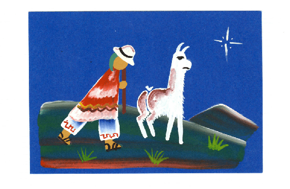 a painting of a man and a llama underneath the north star, on a postcard