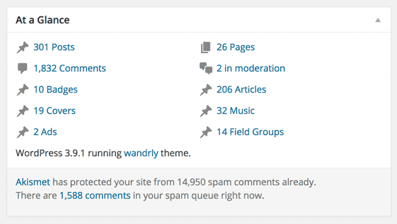 screenshot showing various custom post types in WordPress, in the Dashboard's At a Glance section, listing the number of posts within each  post type