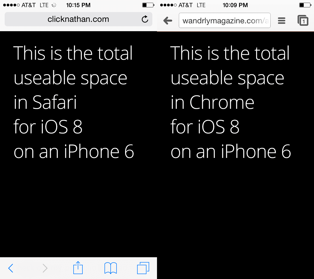 screenshot showing side by side comparison of Safari and Chrome available screen real estate