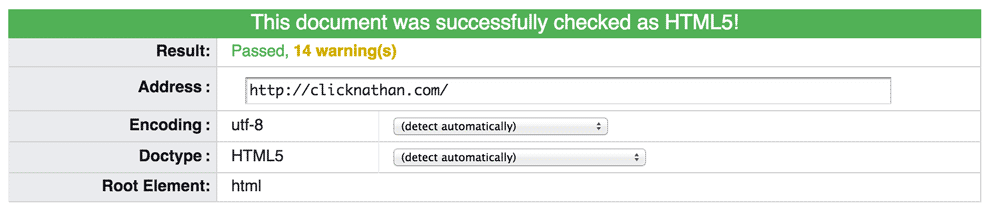 ClickNathan.com passes the W3C HTML validator tool with no errors
