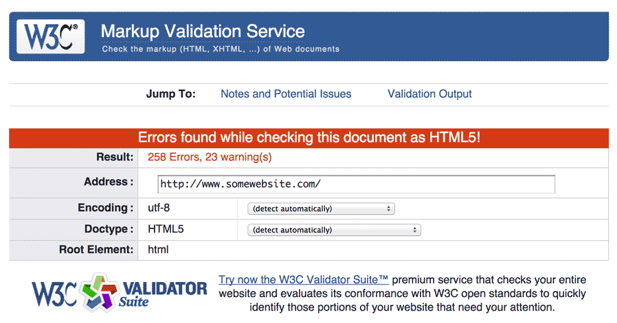 W3C HTML validation results showing many errors