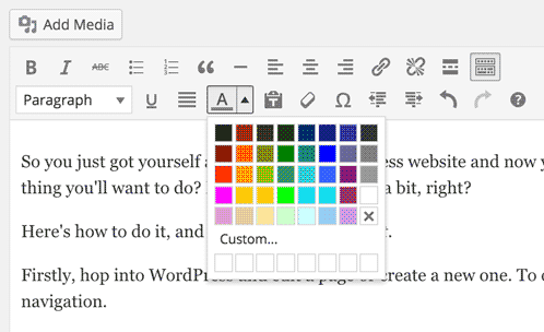the WordPress toolbar with the color picker selected