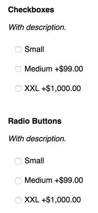 Checkboxes and radio buttons just look great.