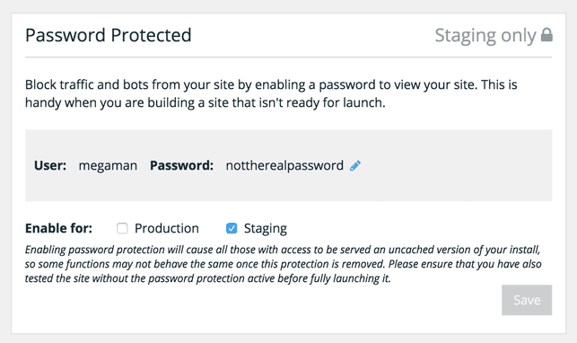 password protect your wp engine hosted website