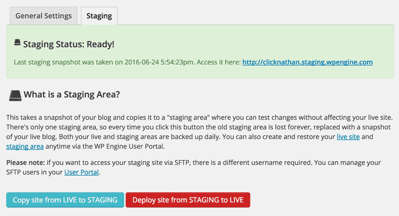 screenshot of WP Engine staging options