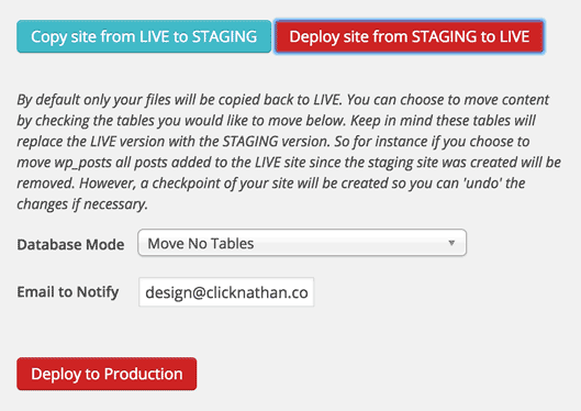 screenshot of staging to live options with WP Engine