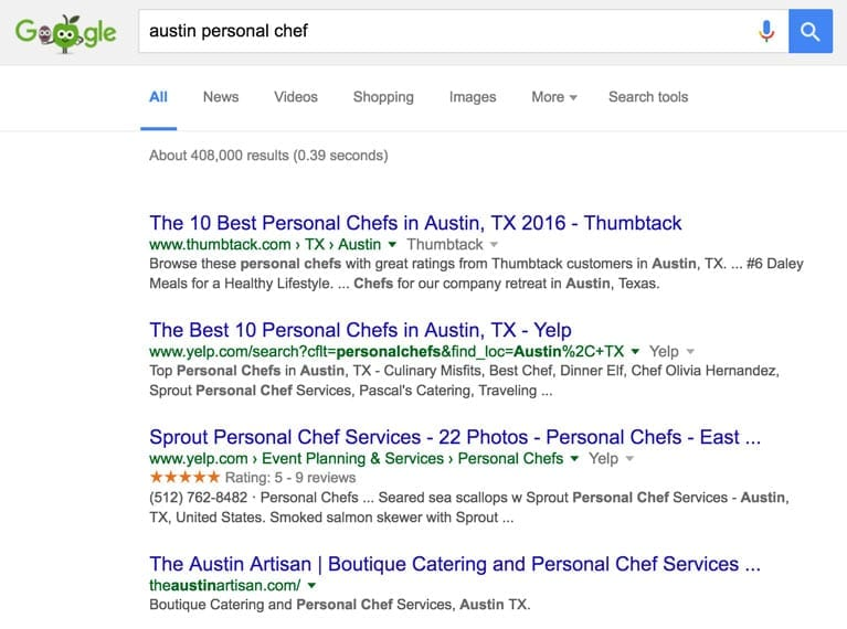 screenshot of theaustinartisan.com showing up at #4 in Google's search results