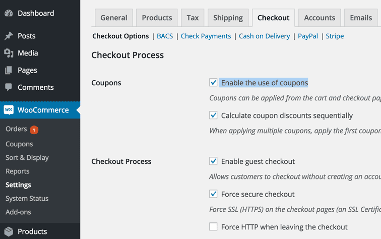 "screenshot showing where to find the "" Enable the use of coupons"" checkbox in Woocommerce."