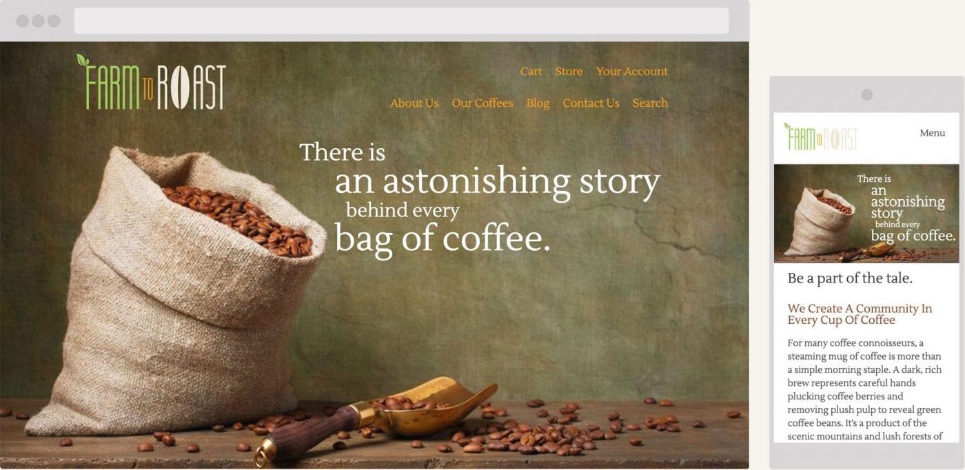 screenshot of farm to roast homepage