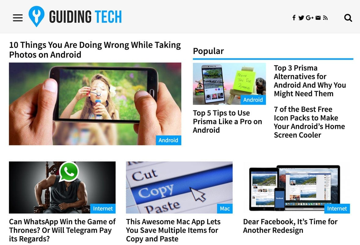 screenshot of guidingtech.com homepage