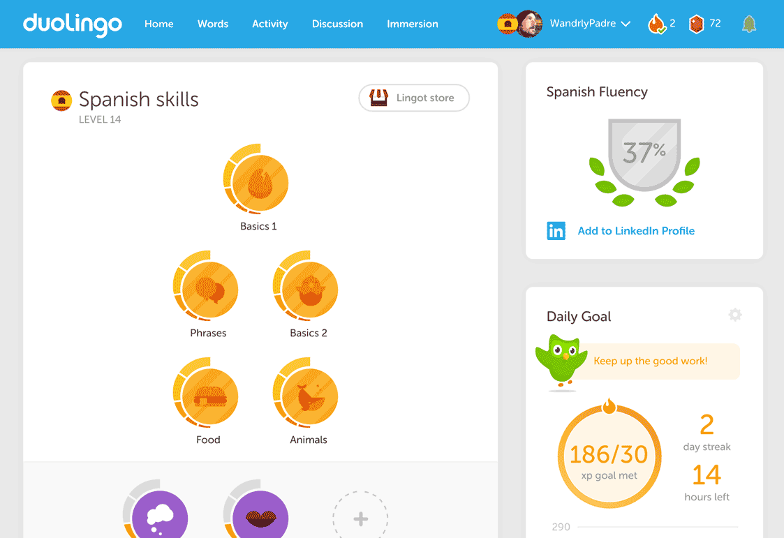 screenshot of Duolingo