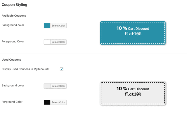 color settings of smart coupons plugin