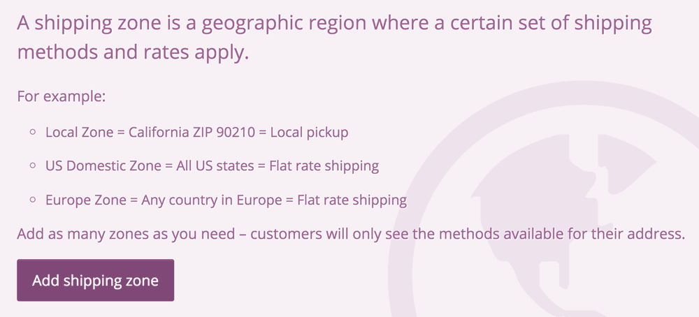 the initial message shown in Woocommerce settings shipping zones when you haven't set anything up yet