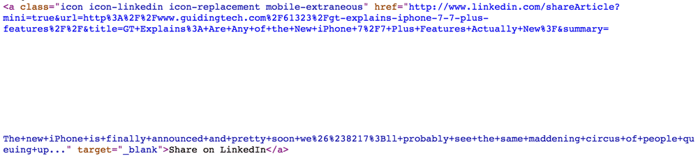 screenshot of view source code showing the mentioned white space